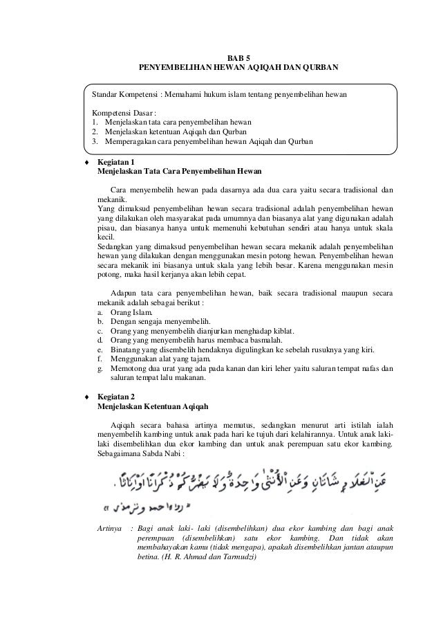 Standar Kompetensi : Memahami hukum islam tentang penyembelihan hewanKompetensi Dasar :1. Menjelaskan tata cara penyembeli...