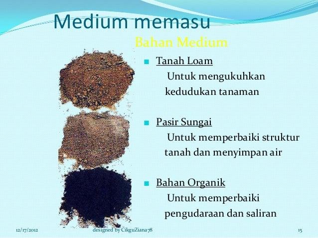 Medium memasu                                Bahan Medium                                    ■ Tanah Loam                 ...
