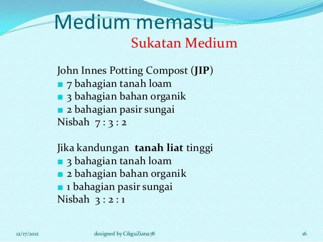 Medium memasu                                  Sukatan Medium             John Innes Potting Compost (JIP)             ■ 7...