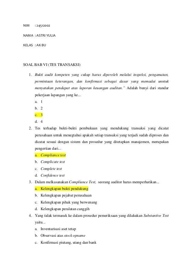 Kunci jawaban audit sukrisno agoes
