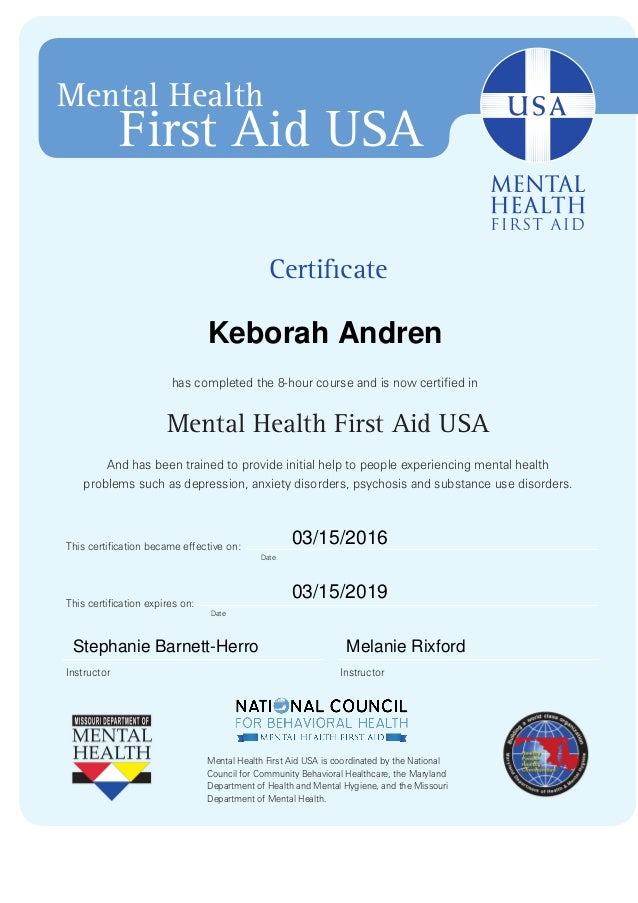 Mental Health First Aid Certificate