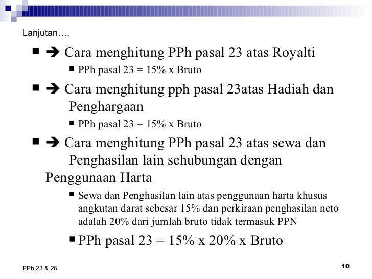 Bab 6 pajak penghasilan pasal 23 & 26
