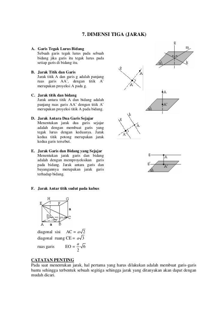 7. DIMENSI TIGA (JARAK)A. Garis Tegak Lurus Bidang   Sebuah garis tegak lurus pada sebuah   bidang jika garis itu tegak lu...