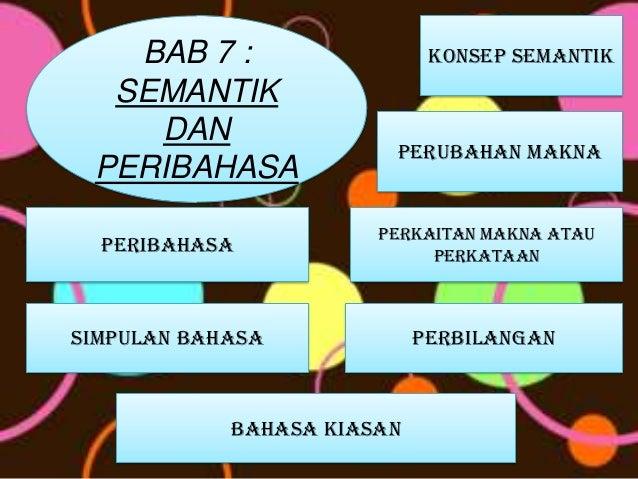 BAB 7 :                   KONSEP SEMANTIK  SEMANTIK    DAN                        PERUBAHAN MAKNA PERIBAHASA              ...