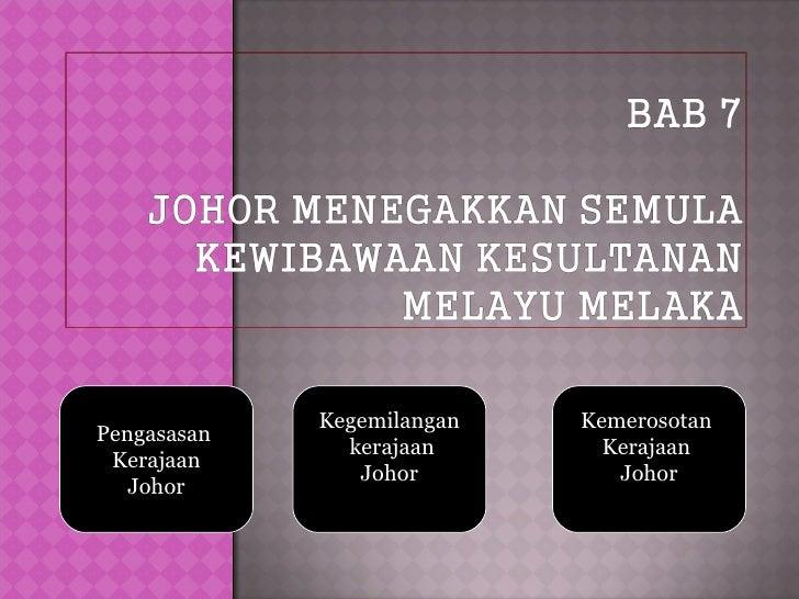 Kegemilangan   KemerosotanPengasasan               kerajaan       Kerajaan Kerajaan                Johor          Johor   ...