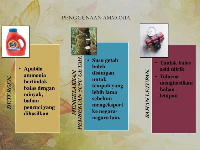PENGGUNAAN AMMONIA. KAINSINTETIK. • Ammonia digunakan untuk sintesis kain sintetik MELUKISDANMEWARNA. • Reaksi asid nitrik...