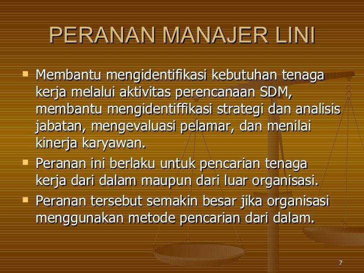 PERANAN MANAJER LINI <ul><li>Membantu mengidentifikasi kebutuhan tenaga kerja melalui aktivitas perencanaan SDM, membantu ...