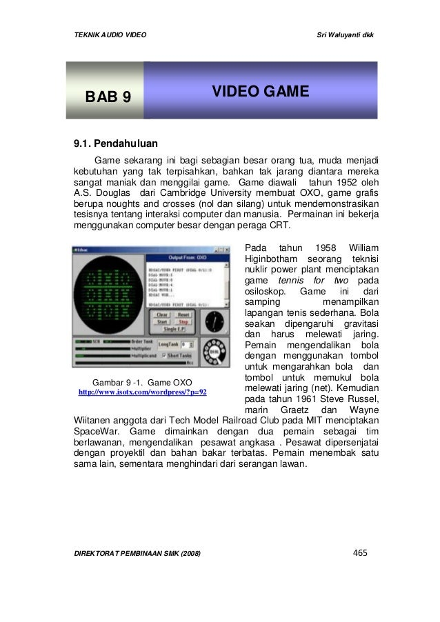 TEKNIK AUDIO VIDEO Sri Waluyanti dkkDIREKTORAT PEMBINAAN SMK (2008) 465Gambar 9 -1. Game OXOhttp://www.isotx.com/wordpress...