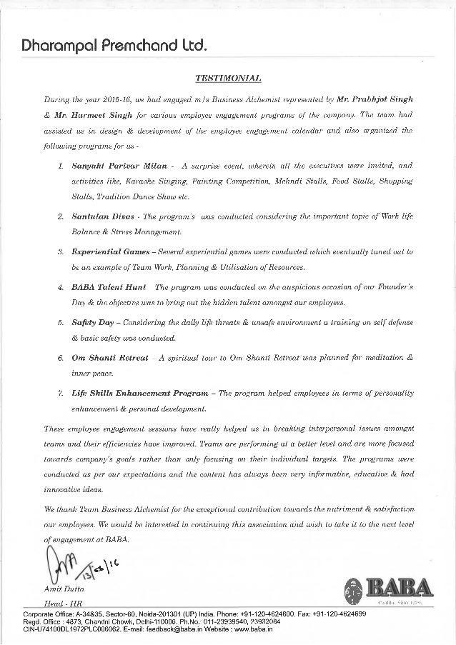 Baba global testimonial for employee engagement activities