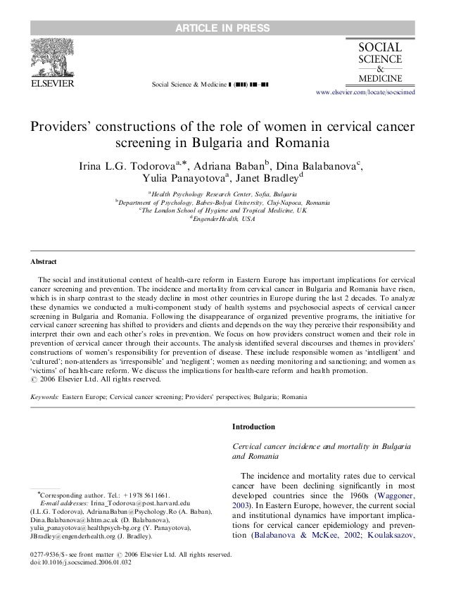 Social Science & Medicine ] (]]]]) ]]]–]]] Providers' constructions of the role of women in cervical cancer screening in B...