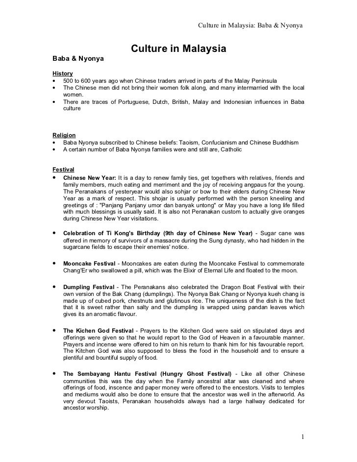 Culture in Malaysia: Baba & Nyonya                              Culture in MalaysiaBaba & NyonyaHistory• 500 to 600 years ...