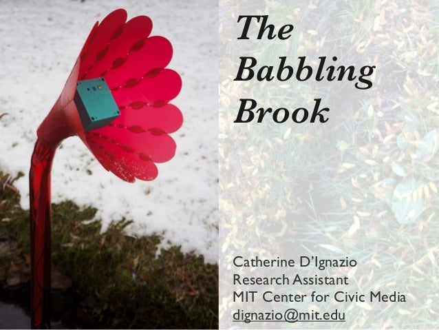 The Babbling Brook  Catherine D'Ignazio Research Assistant MIT Center for Civic Media dignazio@mit.edu