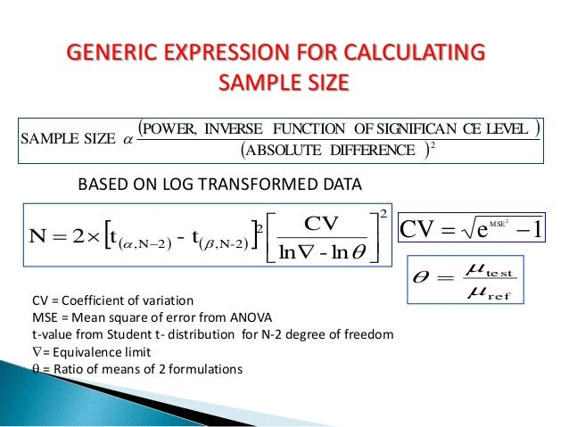 Sample Size Estimation for (Bio)equivalence Testing ...