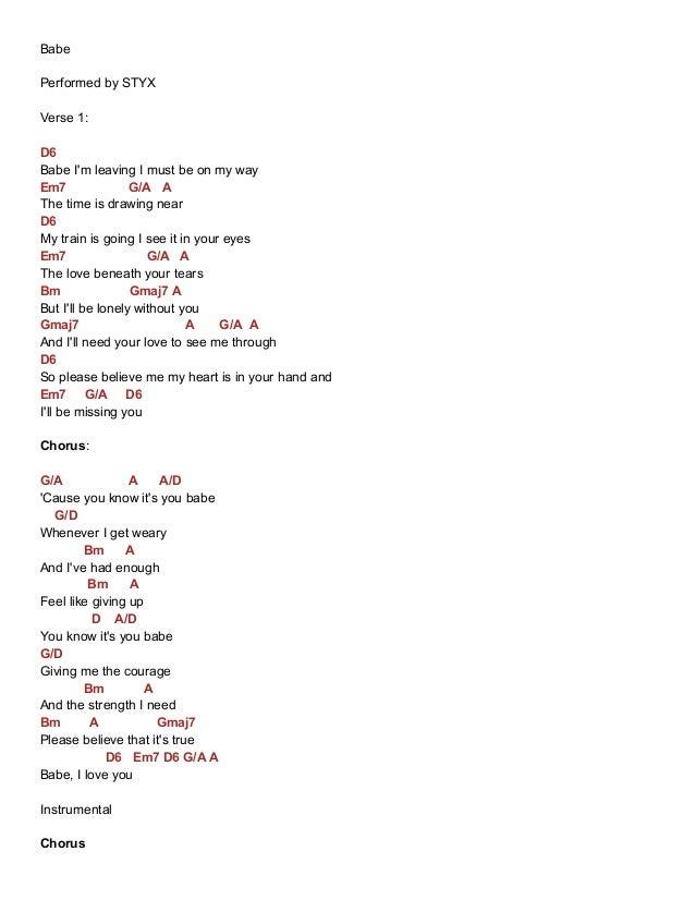 Babe chords styx e-chords