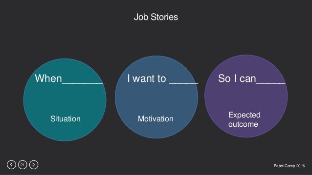 Babel Camp 201621 Job Stories When_______ I want to _____ So I can_____ Situation Motivation Expected outcome