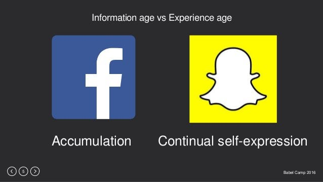 Babel Camp 20165 Information age vs Experience age Accumulation Continual self-expression