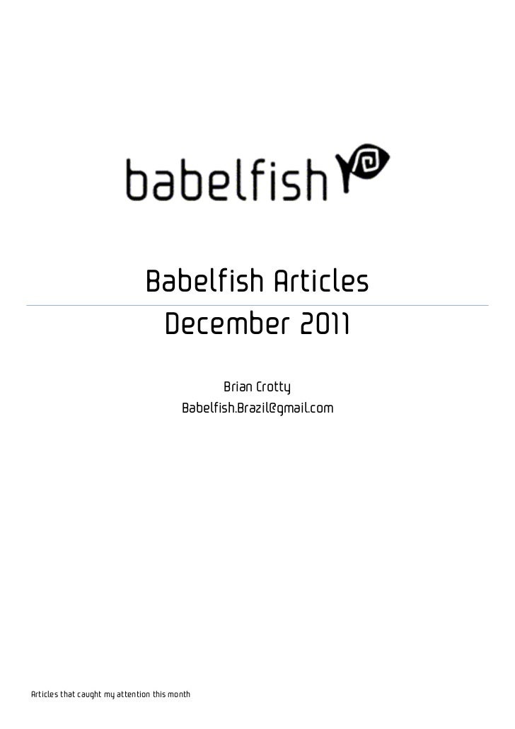 Babelfish Articles                                December 2011                                                Brian Crott...