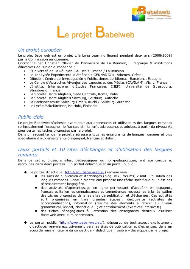 LLee pprroojjeett BBaabbeellwweebb Un projet européen Le projet Babelweb est un projet Life Long Learning financé pendant ...