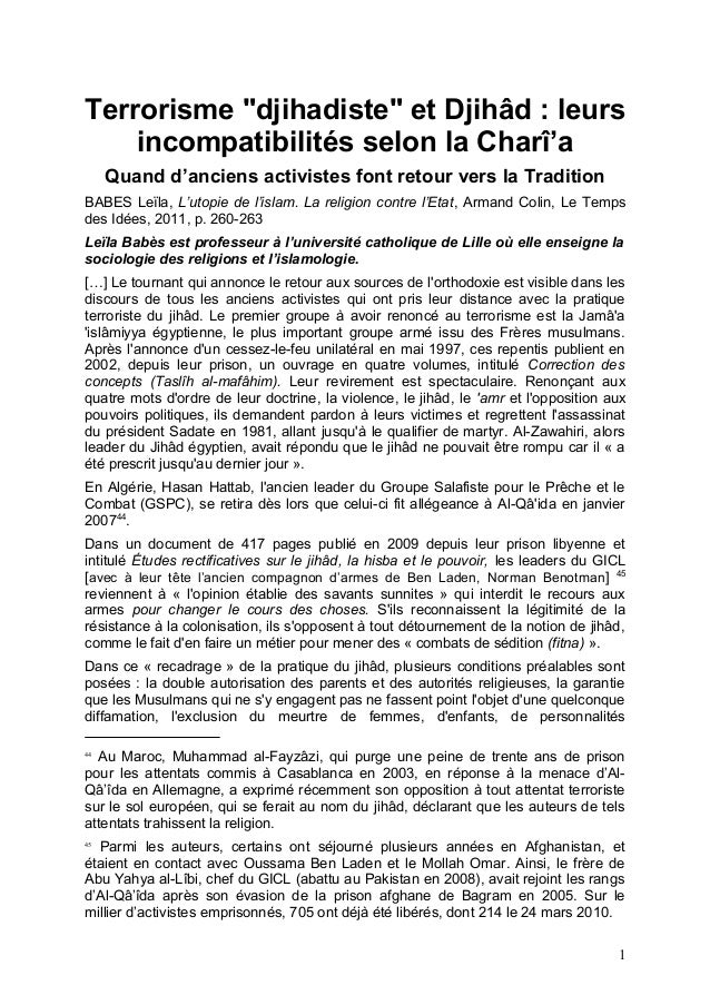 "Terrorisme ""djihadiste"" et Djihâd : leurs incompatibilités selon la Charî'a Quand d'anciens activistes font retour vers la..."
