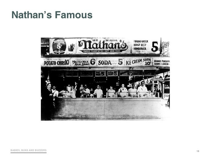 Nathan's Famous     BABIES, BUNS AND BUZZERS   18