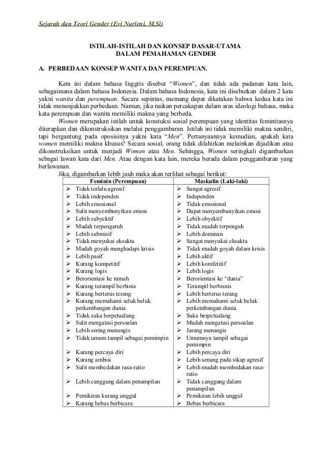 Sejarah dan Teori Gender (Evi Nurleni, M.Si) ISTILAH-ISTILAH DAN KONSEP DASAR-UTAMA DALAM PEMAHAMAN GENDER A. PERBEDAAN KO...