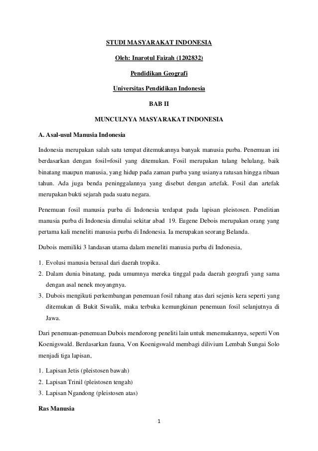 STUDI MASYARAKAT INDONESIA Oleh: Inarotul Faizah (1202832) Pendidikan Geografi Universitas Pendidikan Indonesia BAB II MUN...