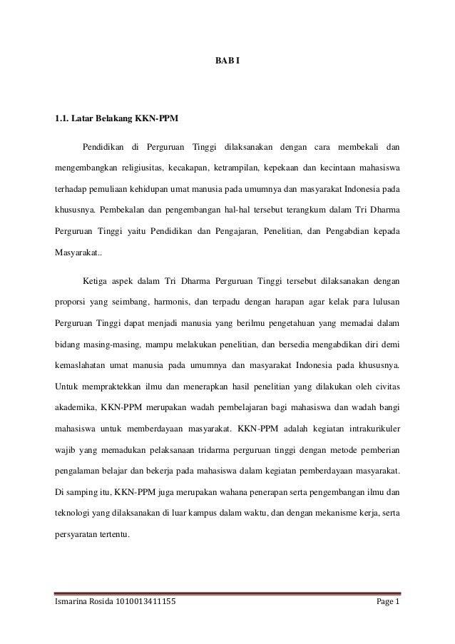 Ismarina Rosida 1010013411155 Page 1 BAB I 1.1. Latar Belakang KKN-PPM Pendidikan di Perguruan Tinggi dilaksanakan dengan ...