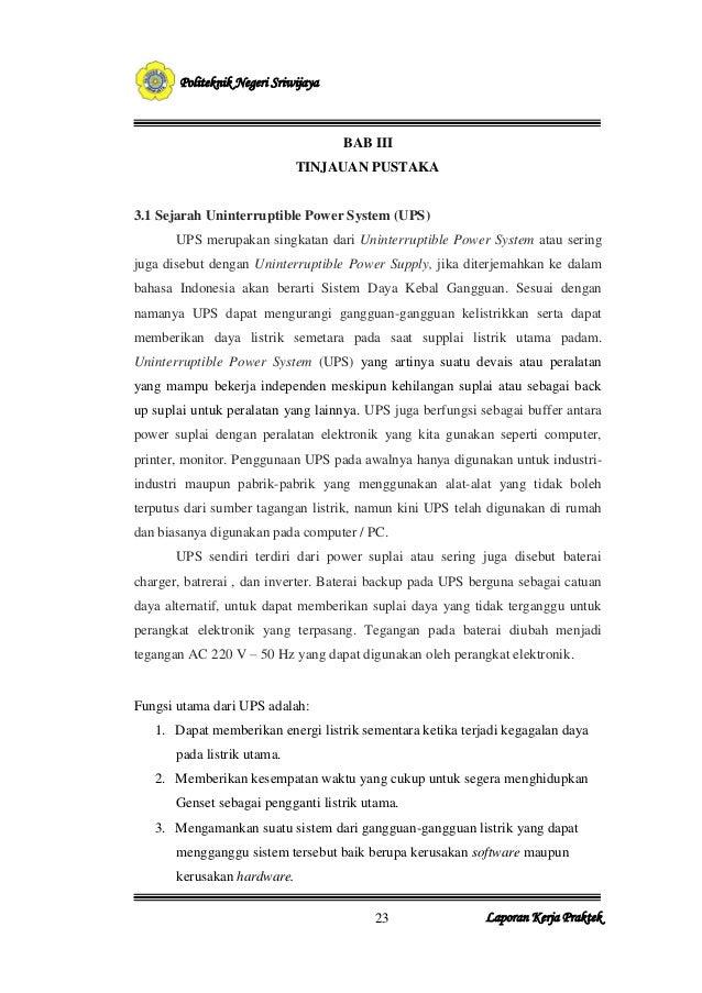 23       Politeknik Negeri Sriwijaya                                     BAB III                             TINJAUAN PUST...