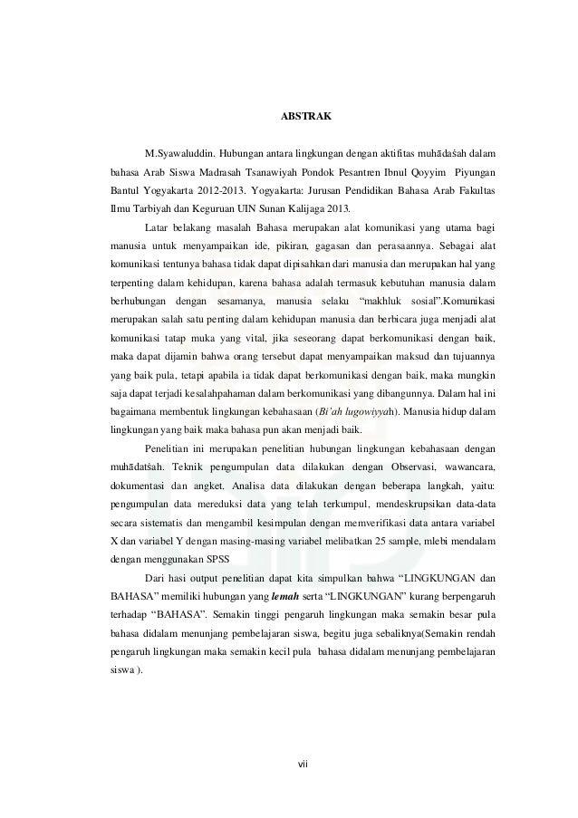 Contoh Skripsi Bahasa Arab Dan Terjemahannya Ide Judul Skripsi Universitas
