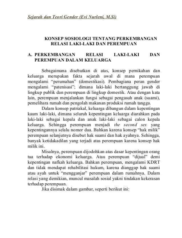 Sejarah dan Teori Gender (Evi Nurleni, M.Si)  KONSEP SOSIOLOGI TENTANG PERKEMBANGAN RELASI LAKI-LAKI DAN PEREMPUAN A. PERK...