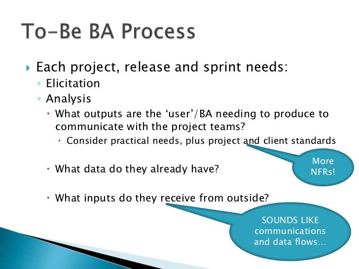 """   Each project, release and sprint needs:    ◦ Elicitation    ◦ Analysis      What outputs are the """"user""""/BA needing to..."""