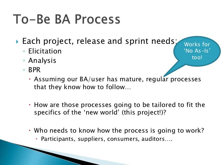    Each project, release and sprint needs:                Works for    ◦ Elicitation                                     ...