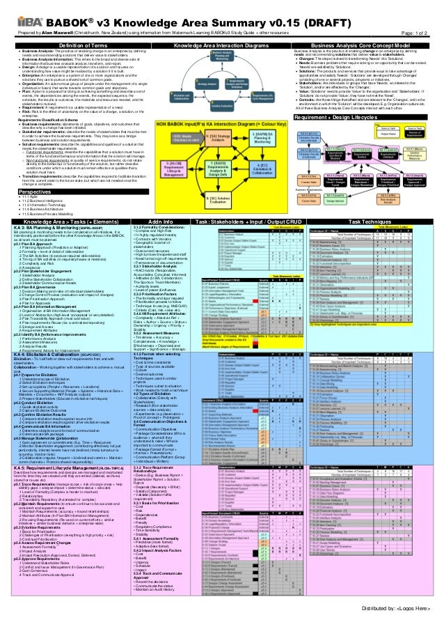 BABOK® v3 Knowledge Area Summary v0.15 (DRAFT) Prepared by Alan Maxwell (Christchurch, New Zealand) using information from...