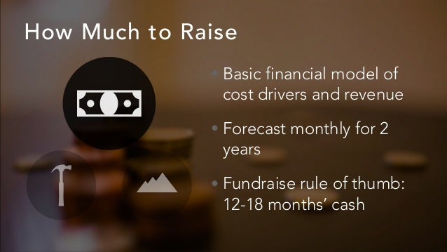 How Much to Raise • Basic financial model of cost drivers and revenue • Forecast monthly for 2 years • Fundraise rule of t...