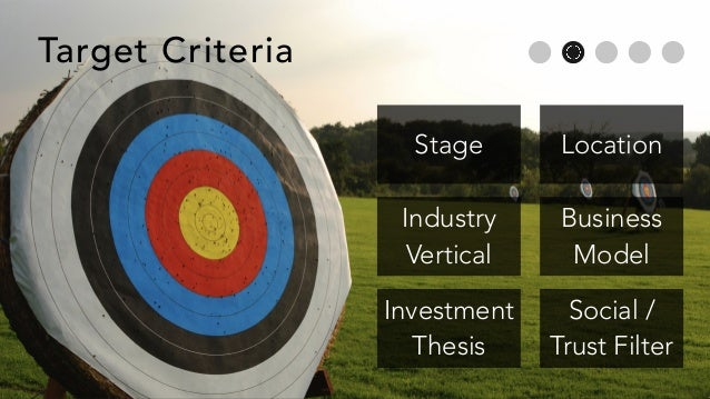 Stage Location Industry Vertical Business Model Investment Thesis Social / Trust Filter Target Criteria