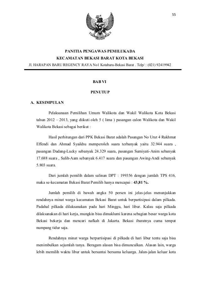 55                      PANITIA PENGAWAS PEMILUKADA                   KECAMATAN BEKASI BARAT KOTA BEKASIJl. HARAPAN BARU R...