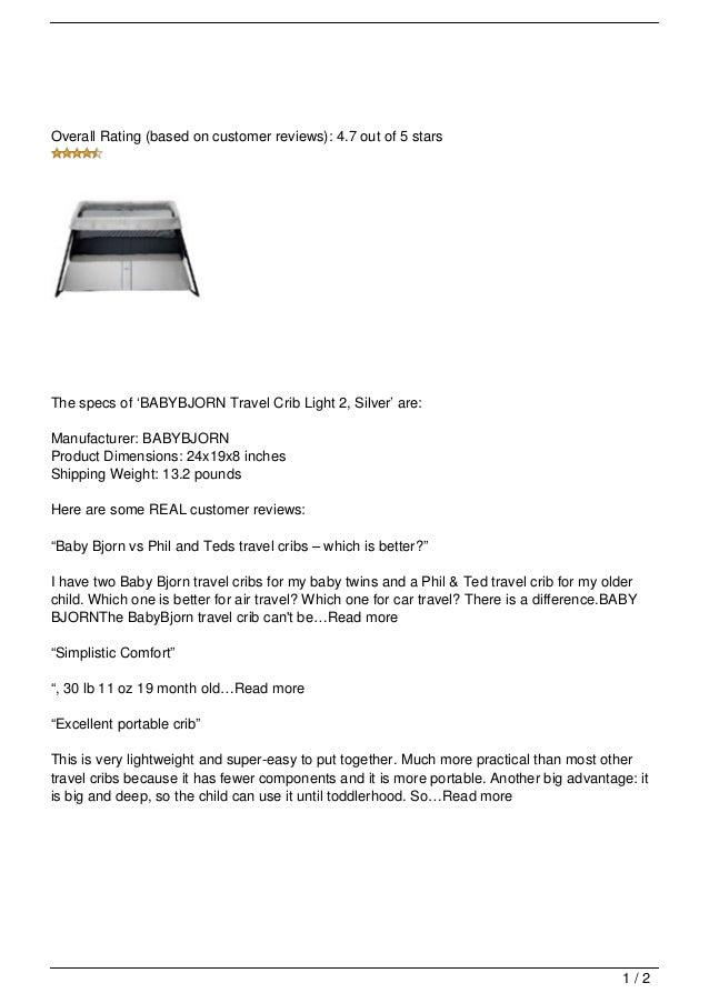 Babybjorn Travel Crib Light 2 Silver Review