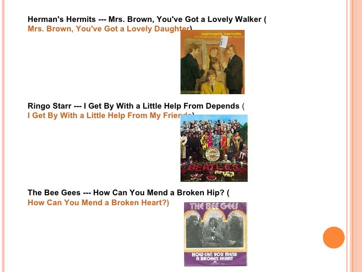 Baby Boomer Music With Humorus Title Changes