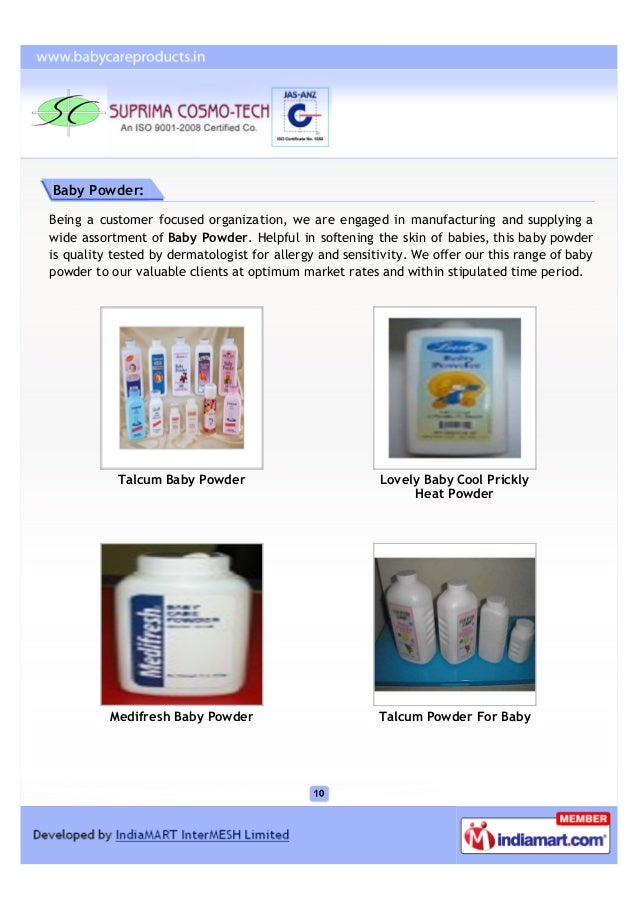 Baby Powder:Being a customer focused organization, we are engaged in manufacturing and supplying awide assortment of Baby ...