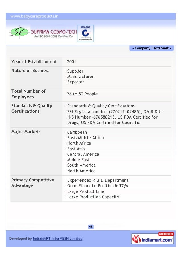 - Company Factsheet -Year of Establishment   2001Nature of Business      Supplier                        Manufacturer     ...