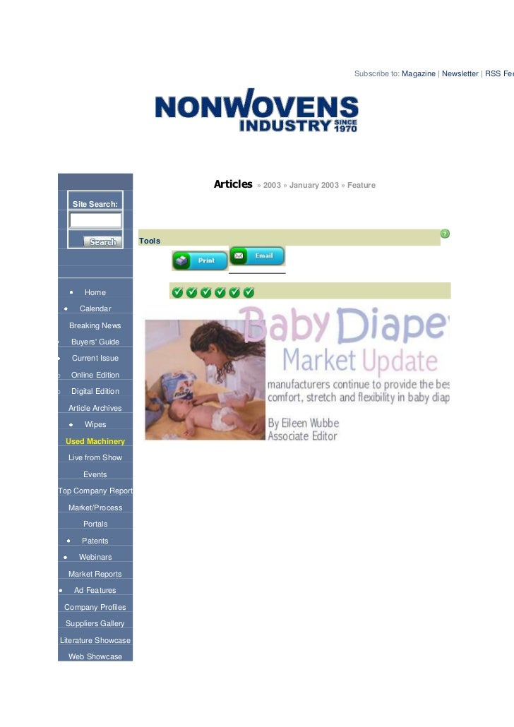 Subscribe to: Magazine   Newsletter   RSS Fee                                News, Markets & Analysis for the Nonwovens In...