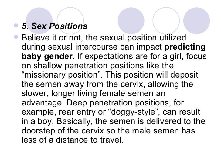 Baby gender determined by sexual position