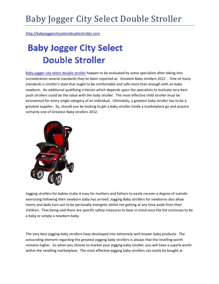 Baby Jogger City Select Double Strollerhttp://babyjoggercityselectdoublestroller.comBaby jogger city select double strolle...