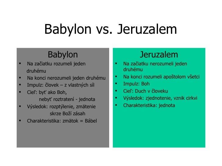 Babylon vs. Jeruzalem <ul><li>Babylon </li></ul><ul><li>Na začiatku rozumeli jeden  </li></ul><ul><li>druhému </li></ul><u...
