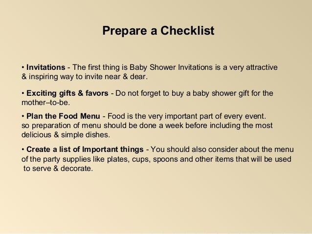 Checklist For Baby Shower