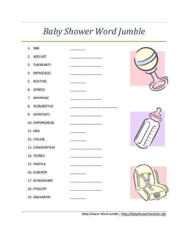 Captivating Baby Shower Word Jumble1. SBBI _________2. ADEEUDT ______ _________3.  TLBOBEABTY ______ _________4.