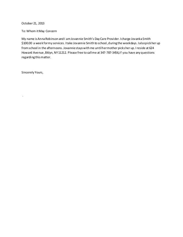 Letter Of Recommendation For Child Care Provider Sample