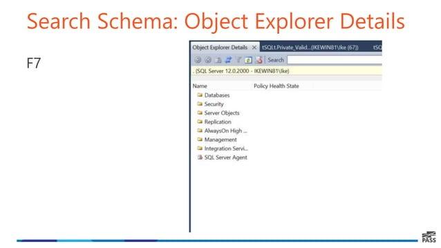 Search Schema: Object Explorer Details F7