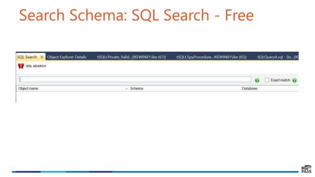 Search Schema: SQL Search - Free