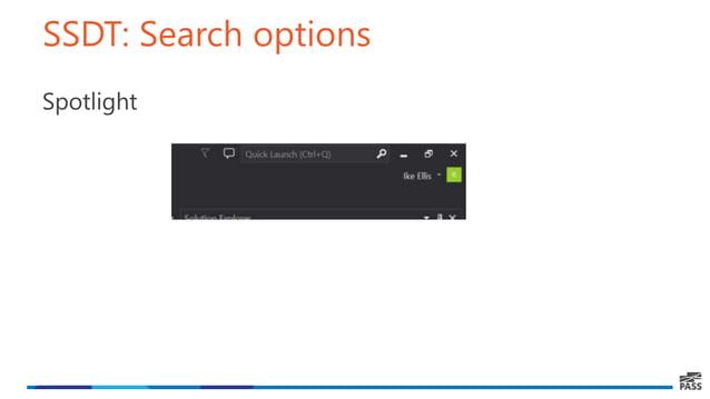 SSDT: Search options Spotlight